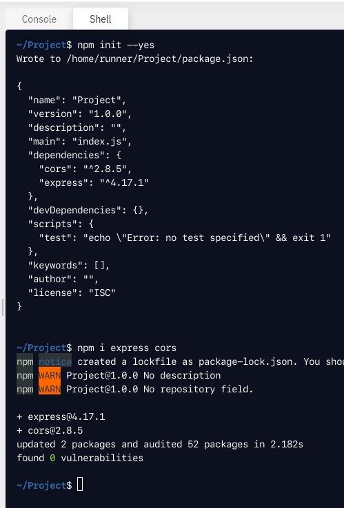 Initialize npm and install dependencies
